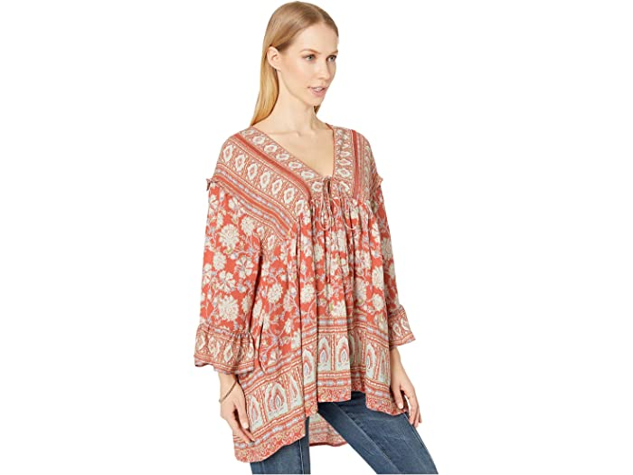 Free People Moonlight De Baile Impreso Red Shirts & Tops