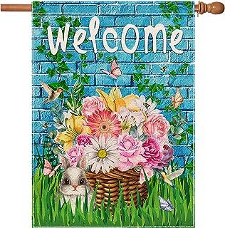 علم بيت الربيع الترحيب السداسية 28 × 40 بوصة مزدوج الوجهين علمًا خيش رأسيًا، زهور مائية ديكور موسمي يارد بيت ديكور خارجي