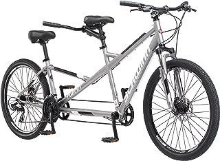 Schwinn Twinn Tandem Bicycle, Featuring Low Step-Through and Lightweight Aluminum Frame with Mechanical Disc Brakes, 26-Inch Wheels, Medium Frame Size, Grey