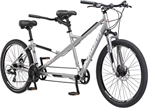 Schwinn Twinn Tandem Bicycle, Featuring Low Step-Through and Lightweight Aluminum Frame with Mechanical Disc Brakes, 26-Inch Wheels, Large Frame Size, Grey