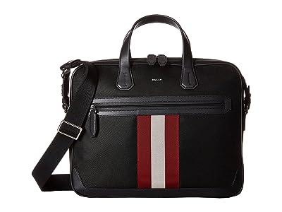 Bally Chandos Ballistic Nylon Briefcase (Black/Bally Red/White) Briefcase Bags