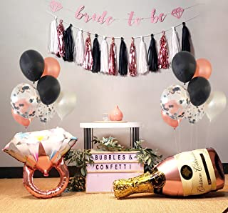 Bubbles & Confetti Bachelorette Party Decorations Rose Gold Kit | Confetti Bridal Shower Balloons | Giant Diamond Ring Balloon | Champagne Balloon | Bridal Banner | Silk Leaf Garland | Tassels