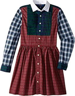 Tartan Cotton Shirtdress (Big Kids)