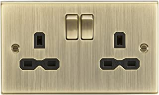 Knightsbridge CS9AB Square Edge Antique Brass 13A 2G Switched Socket with Insert, 230 V