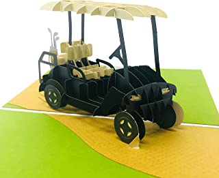 Golf - 3D Pop Up Greeting Card for All Occasions - Love, Birthday, Retirement, Congratulations, Thank You, Get Well, Fathers, Mothers Day- Fold Flat, Envelope Included (Golf Cart)