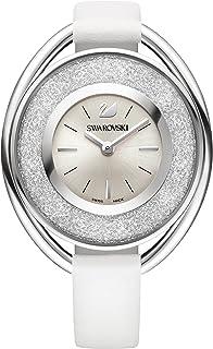 Ladies' Swarovski Crystal Crystalline Oval White Leather Watch 5158548