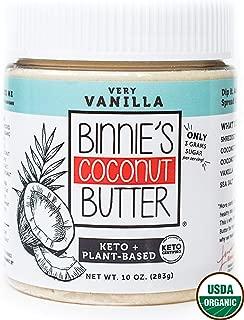 Binnie's Coconut Butter Organic Spread - Keto, Raw, Vegan, Low Carb, Non GMO - Very Vanilla (10 oz)