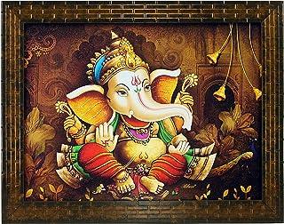 Indianara Ganesha Painting - Synthetic Wood, 27x30.5x1cm, Multicolour
