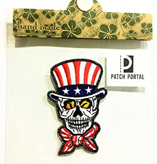 Patch Portal Uncle Sam Top Hat Craft Pattern Skull Patches 3.5 inches United States of America Embroidered American Party ...