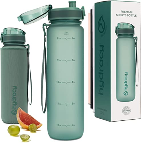 Hydracy Water Bottle with Time Marker - Large BPA Free Water Bottle - Leak Proof & No Sweat Gym Bottle with Fruit Infuser Strainer - Ideal for Fitness or Sports & Outdoors product image