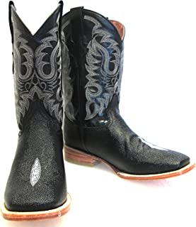 Men's New Stingray Print Leather Cowboy Western Rodeo Square Toe Boots Black