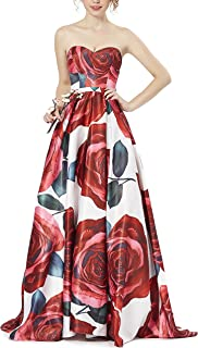 LOVIERA Women's Evening Prom Dress Beaded Floral Printing Satins For