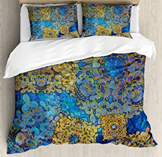 Ambesonne Ethnic Duvet Cover Set, Traditional Persian Motif Oriental Moroccan Effects Exotic Style Boho Design, Decorative 3 Piece Bedding Set with 2 Pillow Shams, Queen Size, Coffee Blue