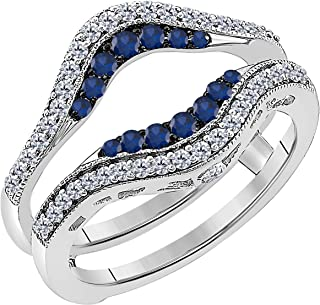 14k White Gold Plated Alloy Double Row Engagement Wedding Enhancer Ring Guard with CZ Blue Sapphire (0.50 ct. tw.)