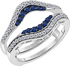 Women's 14k White Gold Plated Alloy Double Row Pave Set 0.50(ctw) CZ Blue Sapphire & Cubic Zirconia Round Wedding Band Solitaire Enhancer Guard Wrap Ring