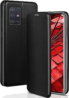 ONEFLOW Handyhülle kompatibel mit Samsung Galaxy A71   Hülle klappbar, Handytasche mit Kartenfach, Flip Case Call Funktion, Klapphülle in Leder Optik, Schwarz