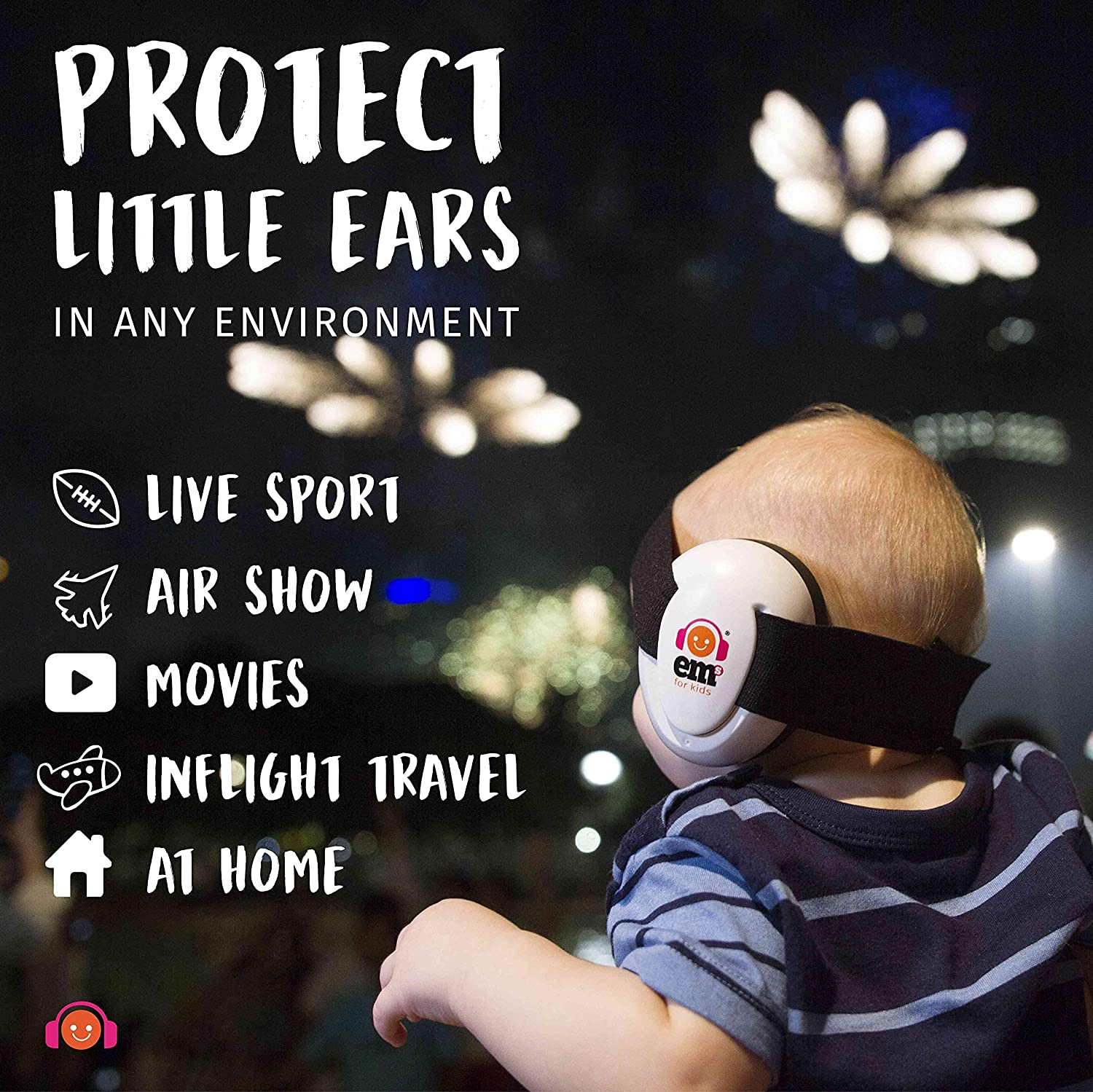 Ems for Kids BABY Earmuffs - White with Pink/White. The original baby earmuffs, now made in the U.S.A! Great for concerts, music festivals, planes, NASCAR, motor racing, power tools and MORE!