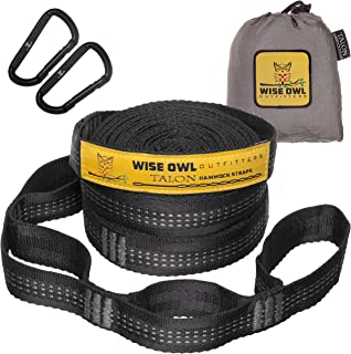Wise Owl Outfitters XL Hammock Straps Combined 20 Ft Long, 38 Loops with 2 D Carabiners - Easily Adjustable Tree Friendly ...