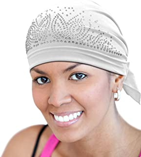 Beauty Town Luxury Rhinestone Scarfhead Wrap Cap #21332 White, Comfortable material, soft material, soft, stretchable, stretchy, comfortable fit, bandana, spandex, skull cap, sport cap, headband, turban
