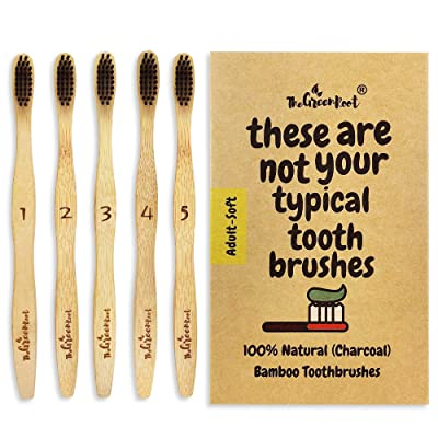 Natural Charcoal Bamboo Toothbrushes (Pack of 5...
