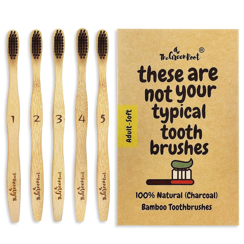 プロペラ恐竜風味Natural Charcoal Bamboo Toothbrushes (Pack of 5) for Adults with Soft Bio-Based Nylon Bristles - Individually Packed & Numbered, Organic Compostable Plastic Free Packaging 141[並行輸入]