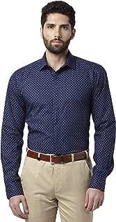 Park Avenue Printed Cotton Dark Blue Slim Fit Cutaway Collar Full Sleeve Shirt