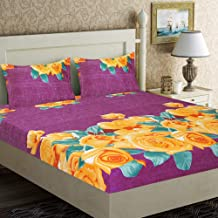 Home Candy Elegant Flowers Microfiber Double Bed Sheet with 2 Pillow Covers