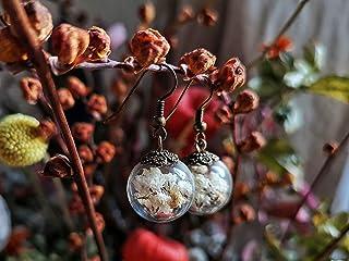 Orecchini di fiori bianchi ed essiccati di gipsofila - Boho la Naturale Gioielleria Floreale - il Vetro tazza 20mm - regal...