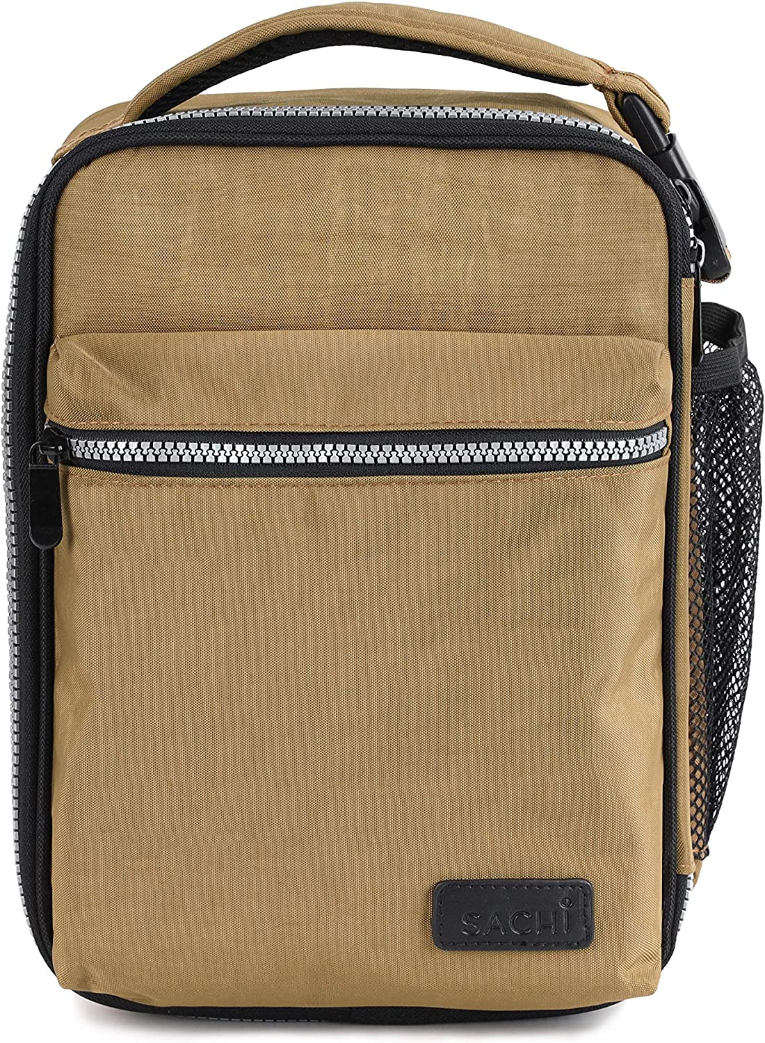 SACHI Explorer Durable Insulated Lunch Tote, Lunchbox with Heavy Duty Zipper, Large Lunch Bag, for Men with Hands Free Buckle Handle Loncheras Khaki