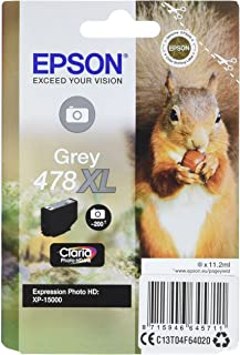 Epson Singlepack Grey 478XL Claria Photo HD Ink – Druckerpatronen (Grau, Epson, Expression Photo HD XP 15000, C13T04F64020, Tintenstrahldrucker, Grau)