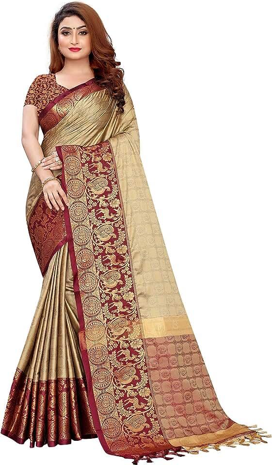 Indian Vastrame Women's Dharmavaram Cotton Blend Saree With Blouse Piece Saree