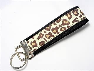 Leopard Cheetah Print Ribbon Wristlet Key Fob Keychain Tan