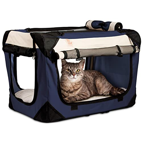 73d299f996 PetLuv Happy Cat Premium Soft Sided Foldable Top   Side Loading Pet Carrier    Travel Crate