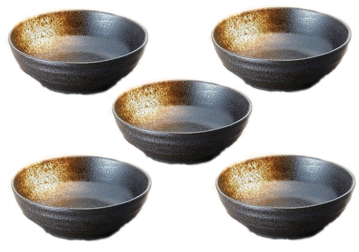 玉後継鏡ヤマ吾陶器 小鉢 ブラック 330ml 美濃焼 黒備前釉小鉢(5個組)