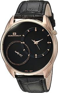 ساعة اوشينت للرجال سينتينيل ستانليس ستيل كوارتز مع حزام جلدي، أسود، 21 (OC3353)