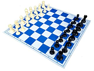 StonKraft 17'' x 17'' Tournament Chess Vinyl Foldable Chess Game with Solid Plastic Pieces (with Extra Queen) - Ideal for ...