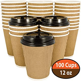 100 Pack OzBSP Premium Disposable Coffee Cups with Lids 12 oz. Stylish Ripple Wall Design Double Wall Insulated to go Paper Coffee Cups. No Sleeves Needed. 12oz Hot Cups Reusable Cup Travel Coffe Cup