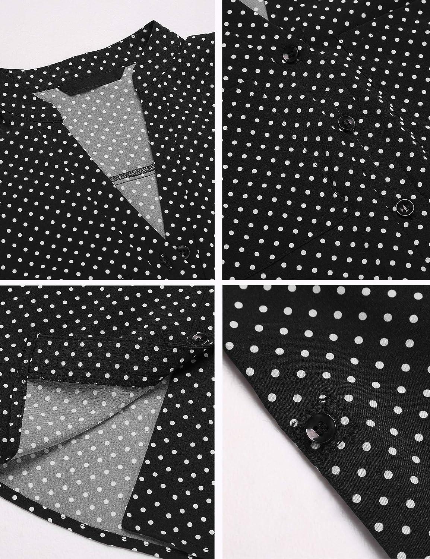 Pinspark Women's Polka Shirt Roll Up Long Sleeve Work Button Down Blouse Tops Classic Tunic S-XXL