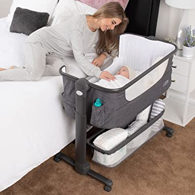 Baby Bassinet, Bedside Sleeper for Baby, Easy Folding Portable Crib with Storage Basket for Newborn, Bedside Bassinet, Comfy