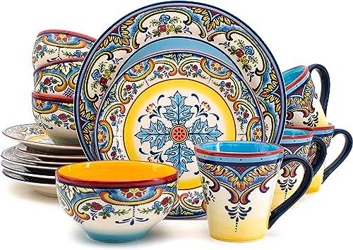 Euro Ceramica Zanzibar Collection 16 Piece Dinnerware Set Kitchen and Dining, Service for 4, Spanish Floral Design, M...