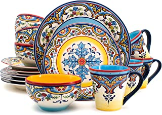 Euro Ceramica Zanzibar Collection 16 Piece Dinnerware Set...
