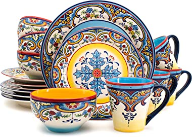 Euro Ceramica Zanzibar Collection 16 Piece Dinnerware Set Kitchen and Dining, Service for 4, Spanish Floral Design, Multicolo