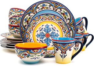 Euro Ceramica Inc. YS-ZB-1001 16 Piece Dinnerware Set Kitchen and Dining, Service for 4, Spanish Floral Design, Multicolor...