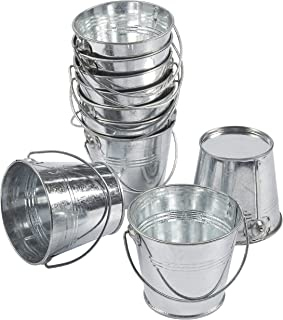 10-Pack Small Metal Bucket - Bucket Planter with, Mini Metal Pail, Ideal for Party Favors, Trinkets, Small Plants, Garden Decorations, Silver, 3.3 x 2.5 x 3 Inches