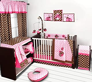 Bacati Ladybug Pink/Chocolate 10 Pc Girls Crib Set with 2 Crib Sheets (Bumper Pad not Included).