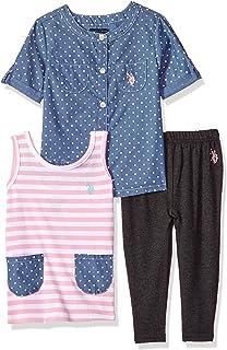 U.S. Polo Assn. Conjunto de Playera y pantalón de Punto. Juego de Pantalones para Niñas