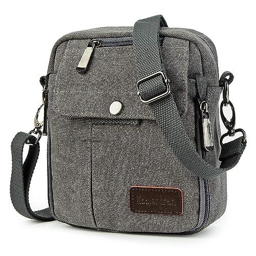 4525eb31b7b Koolertron Men Shoulder Bag Small Retro Canvas Satchel Zipped Unisex  Lightweight Long Strap Crossbody Travel Messenger