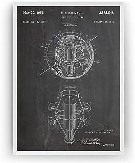 First American Satellite 1958 - Patent Print NASA Outer Space Póster Con Diseños Patentes Decoración de Hogar Inventos Car...