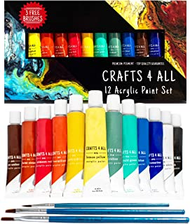 Acrylic Paint Set 12 Colors by Crafts 4 ALL Perfect for Canvas, Wood, Ceramic, Fabric. Non Toxic & Vibrant Colors. Rich Pi...