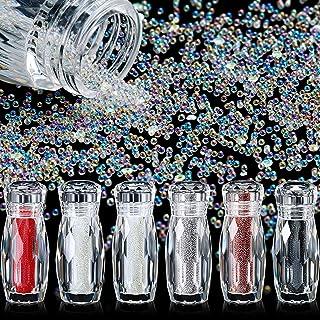 6 Bottles Micro Caviar Beads Micro Pixie Beads Micro Nail Beads Gravel Nail Diamonds Stone Crystal Rhinestones Nail Decora...